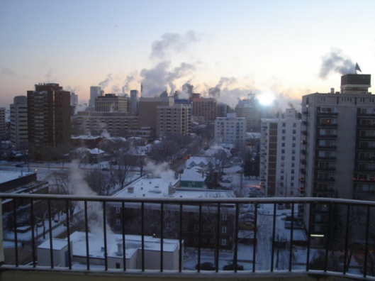 The view from our first apartment in Alberta--and our first winter!