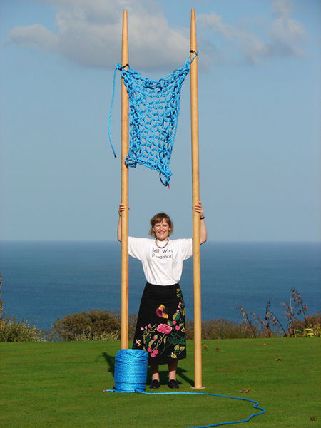 Julia Hopson of Knit Wits, Penzance, Cornwall with the 'Guinness World Record' for knitting with 'the largest knitting needles in the world'. Now THAT'S a hobby!