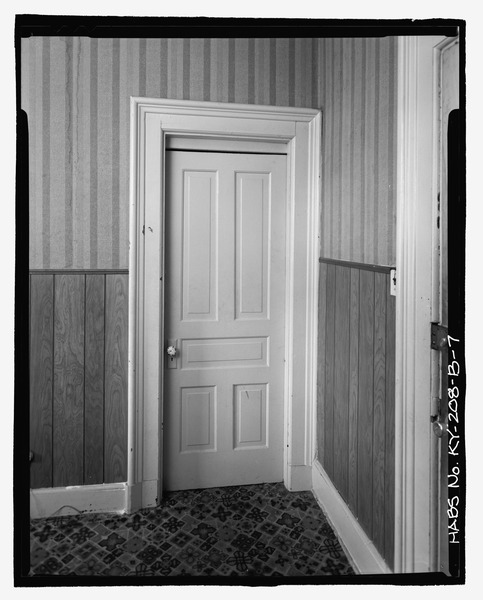 View_of_bathroom_door_at_third_floor_apartment_at_southeast_corner_-_Boro_Brothers_Building,_Confectionary_and_Saloon,_118-120_East_Second_Street,_Covington,_Kenton_County,_KY_HABS_KY-208-B-7.tif