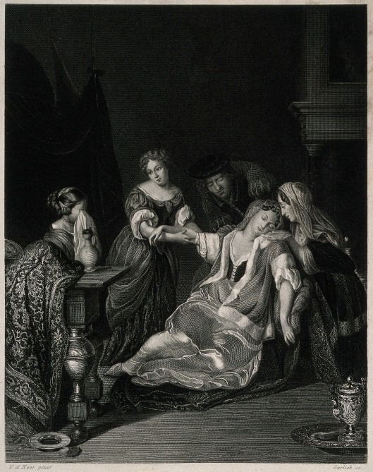 V0016862 A surgeon tending a sick woman who has just fainted, she is