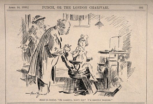 V0011505 A reluctant girl sits down in the dentist's chair. Reproduct Credit: Wellcome Library, London. Wellcome Images images@wellcome.ac.uk http://wellcomeimages.org A reluctant girl sits down in the dentist's chair. Reproduction of a drawing by B. Thomas, 1920. 1920 By: Bert ThomasPublished: 1920 Copyrighted work available under Creative Commons Attribution only licence CC BY 4.0 http://creativecommons.org/licenses/by/4.0/