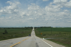 This is one the way--we couldn't see mountains yet, but the land started to get a few hills. That's something! ;)