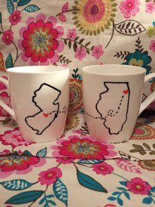 Long distance love mugs. So cute!