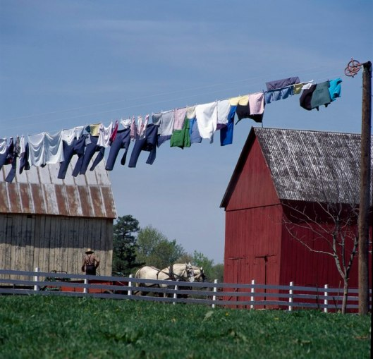 "Wash on a clothesline in Lancaster County's ""Amish Country."""